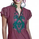 Merlot Cap sleeve Ladies tunic with collar blouse