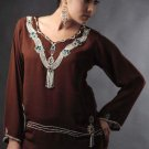 Brown v-neck with fashion hem  tunic top ,Party wear
