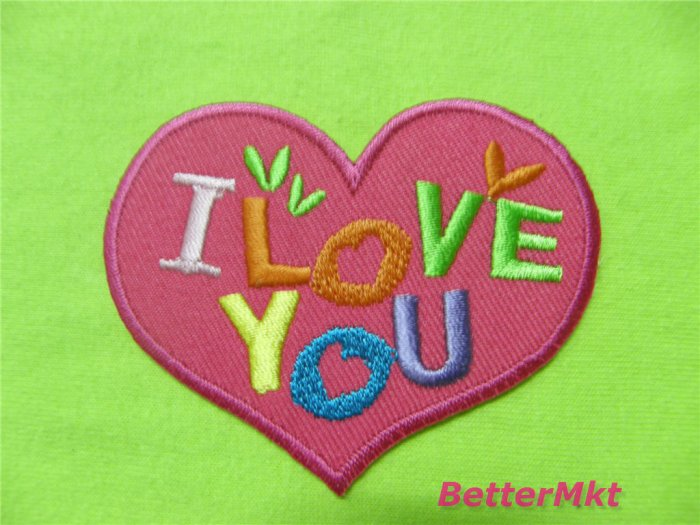 I Love You Heart Embroidered Applique Sew Iron On Patch