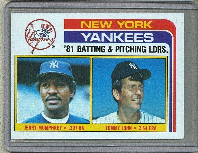 1982 Topps Baseball #486 Yankees Team Checklist Pack Fresh