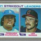 1982 Topps Baseball #166 Valenzuela/Barker Strikeout Leaders Pack Fresh