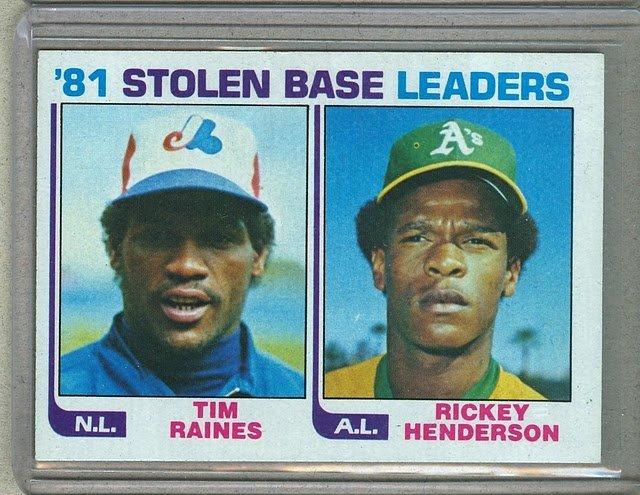 1982 Topps Baseball #164 Raines/Henderson Stolen Base Leaders Pack Fresh