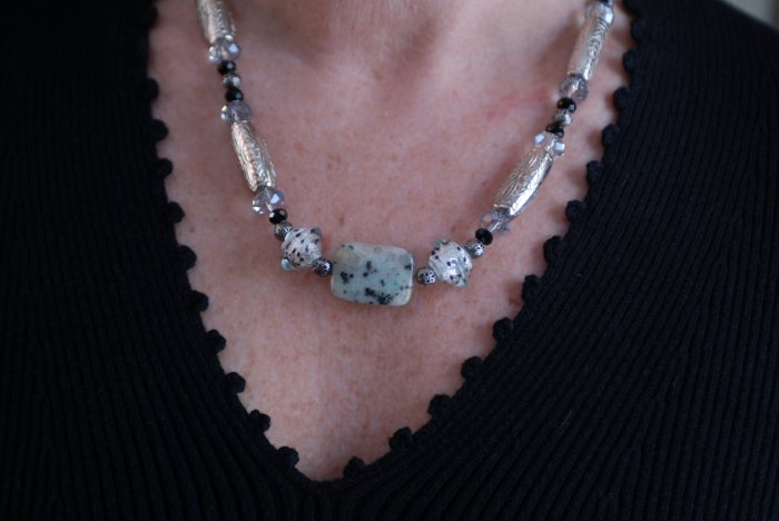 Speckled Agate Stone with Glass Beads Necklace