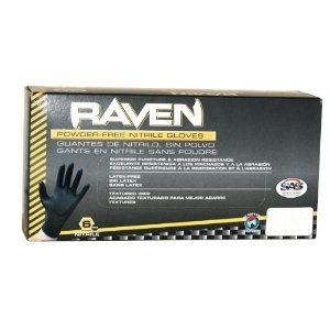 Raven Black Nitrile Powder Free Gloves - (Size L)