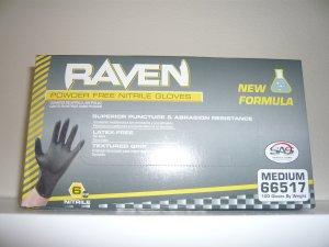 Raven Black Nitrile Powder Free Gloves - (Size M)