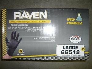 1000 Raven Black Nitrile Powder Free Gloves - (Size L)