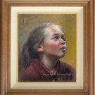 ART ORIGINAL OIL ON CANVAS RUSSIAN GIRL ANXIOUS EYES-NR