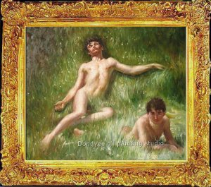 ART OIL ON CANVAS-Henry Scott Tuke-The Sunbathers-1927