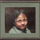 ART ORIGINAL OIL ON CANVAS PRETTY GOOD TIBETAN GIRL