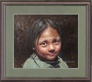 ART ORIGINAL OIL ON CANVAS PRETTY GOOD TIBETAN GIRL