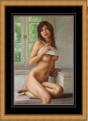 ART ORIGINAL OIL PAINTING SEXY NUDE GIRL MORNING