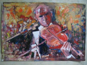 "ART Deco Repro OIL PAINTING Abstract Musician 24""x36"""