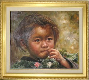 Art Original Oil Painting-Nepalese Children Little Girl