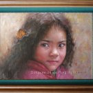 ART ORIGINAL OIL ON CANVAS MEXICO YOUNG GIRL&BUTTERFLY