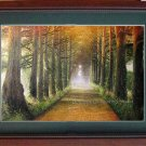 oil painting from photo a shady path-in stock Landscape