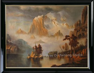 Oil Painting-REPRO Albert Bierstadt-Rocky Mountains-Art