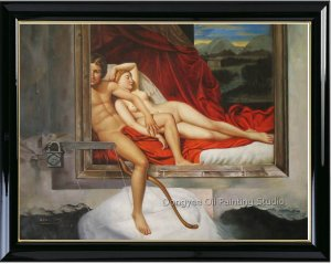 Original Oil Painting Surrealism Art Cupid and Psyche