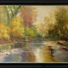 HUGE OIL ON CANVAS landscape realism with impressionism