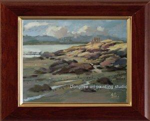 ORIGINAL sketch OIL PAINTING-Landscape Bay stretched-NR