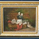 ART FRAMED OIL PAINTING ON BROAD FRAMED ANIMALS CATS
