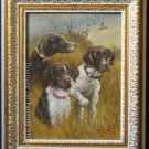 ART SIGNED OIL PAINTING ON BROAD FRAMED ANIMALS DOGS