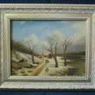 OIL PAINTING on broad framed landscape lane -SIGNED