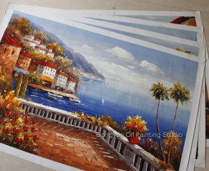 Wholesale lot 4PCS oil paintings-Mediterranean-24x36""