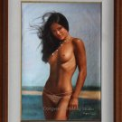 Art Original Oil Painting Sexy Nude Girl By The Sea