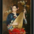 Art Sale Oil Painting Oriental Lady Beayty Playing Pipa