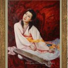 Art Original Oil Painting Lady Playing Chinese zither