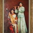 Oriental Ancient Musical Ladys Original Oil Painting