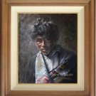 Original Oil Painting Art Portrait of a Tibetan Boy