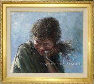 Tibetan Nomad Shepherdess Original Oil Painting Art
