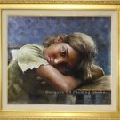 Nicas Girl Resting On  A Bench Original Oil Painting
