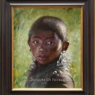 Original Oil Painting Portrait Tibetan Boy Backlighting