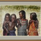 Original Oil Painting Portrait Of Ethiopia Hamer Girls