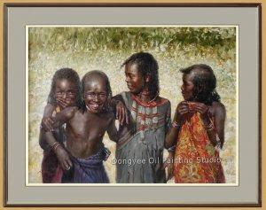 Original Oil Painting Portrait Of Ethiopia Hamer Girls