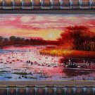 Oil Painting Landscape Animal Swan In The Morning Lake