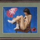 Original oil painting oriental nude girl as folwer art