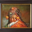 ORIGINAL OIL ON CANVAS PORTRAIT OF A TIBENAN NOMAD GIRL