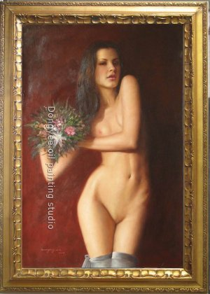 Nude Girl with a bunch of flower ORIGINAL OIL ON CANVAS