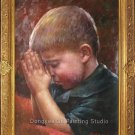 ART SALE ORIGINAL OIL PAINTING-American boy-Coy Praying