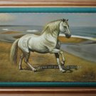 ORIGINAL OIL ON CANVAS ANIMAL WHITE HORSE-ON SALE