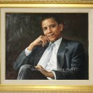 OIL PAINTING PORTRAIT OF PRESIDENT OBAMA-FREE SHIPPING