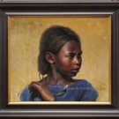 ART ORIGINAL PAINTING PORTRAIT OF African American girl