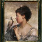 OIL PAINTING-Perrault Leon Jean Basile The Bird Charmer