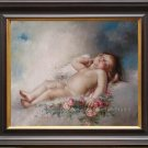 ART QUALITY OIL PAINTING-LEON PERRAULT-Sleeping Putto