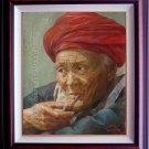 ORIGINAL OIL PAINTING PORTRAIT OF A CHINESE OLD MEN-NR
