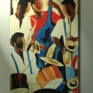 SALE ART DECO OIL PAINTING ON CANVAS FIGURES THE BAND