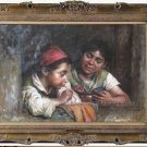Old Master-Oil Paintings-Luigi Bechi-Blowing Bubbles